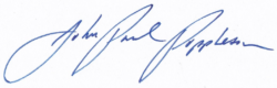 The signature of John-Paul F. Poppleton, Headmaster